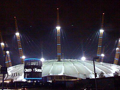 O2 Dome at night