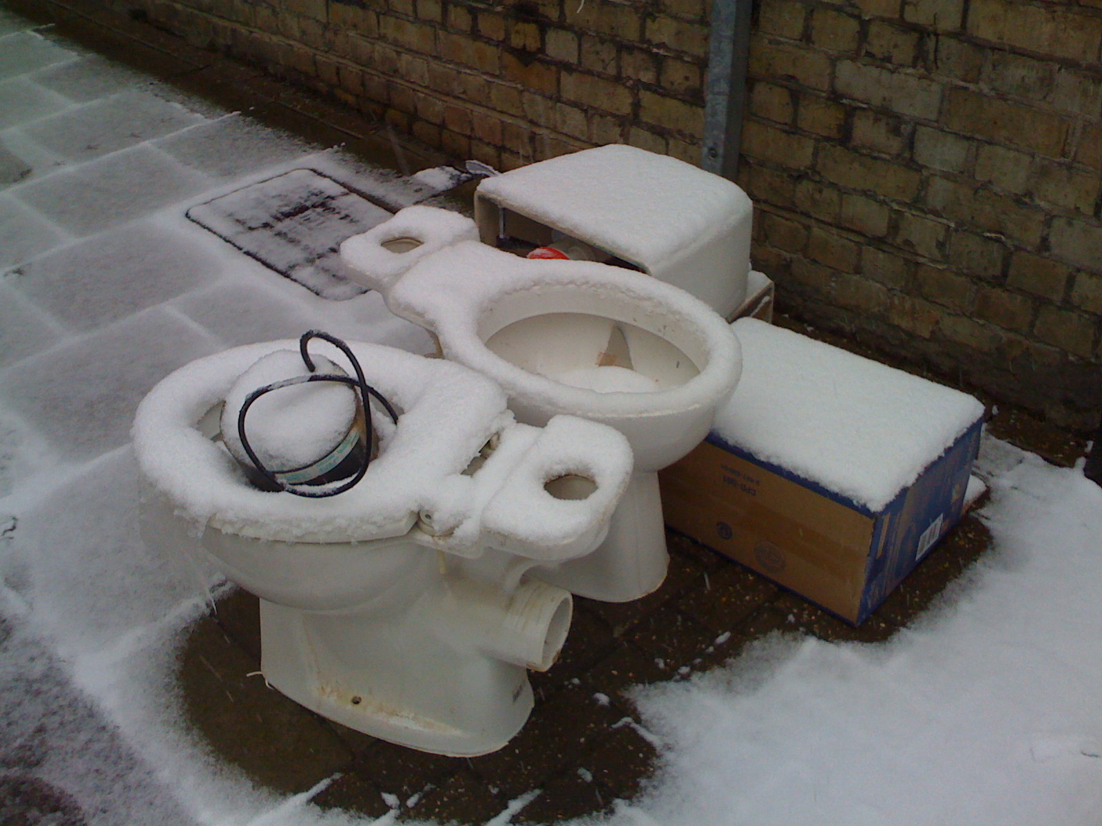 snow on toilet